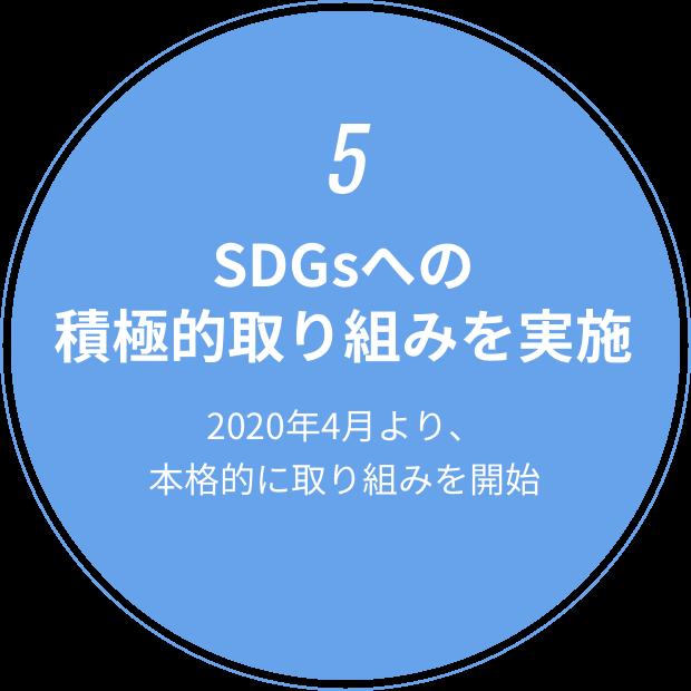 5 SDGsへの積極的取り組みを実施 2020年4月より、本格的に取り組みを開始